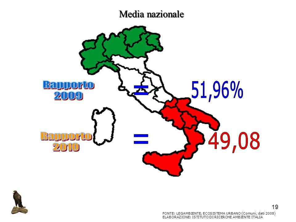 Rapporto 2009 51,96% = Rapporto 2010 49,08 = Media nazionale