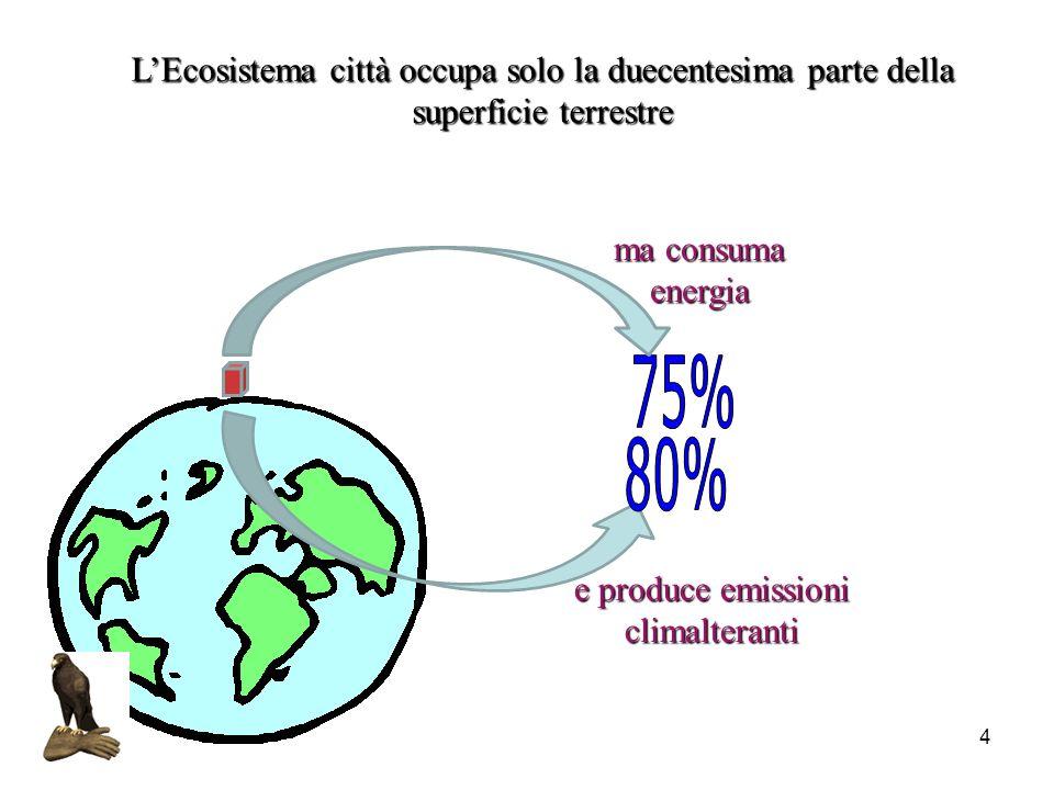 L'Ecosistema città occupa solo la duecentesima parte della superficie terrestre