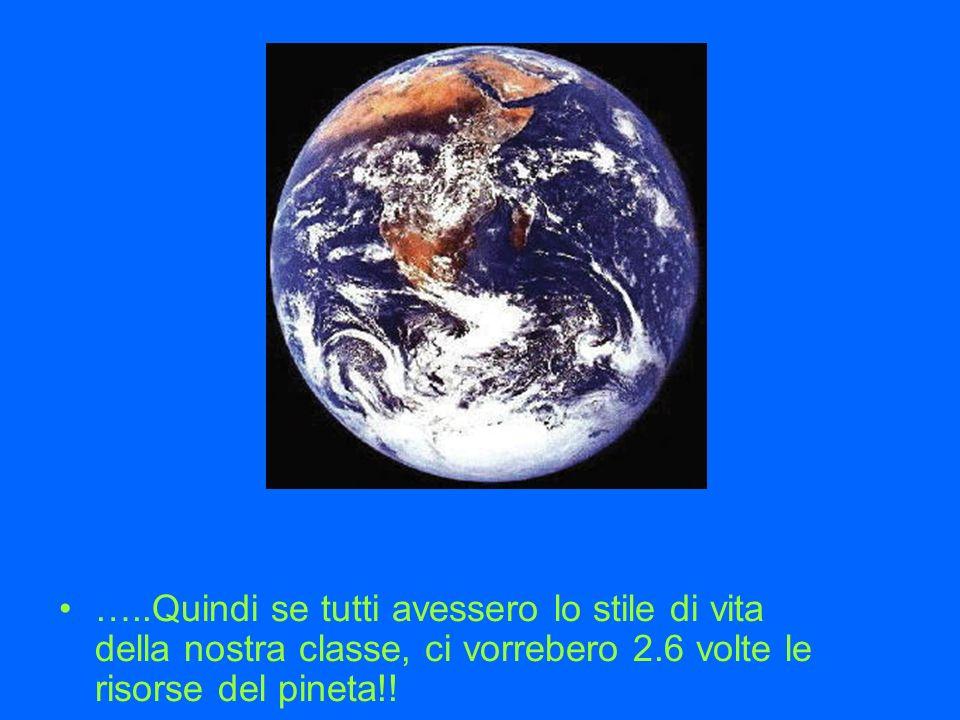 …..Quindi se tutti avessero lo stile di vita della nostra classe, ci vorrebero 2.6 volte le risorse del pineta!!