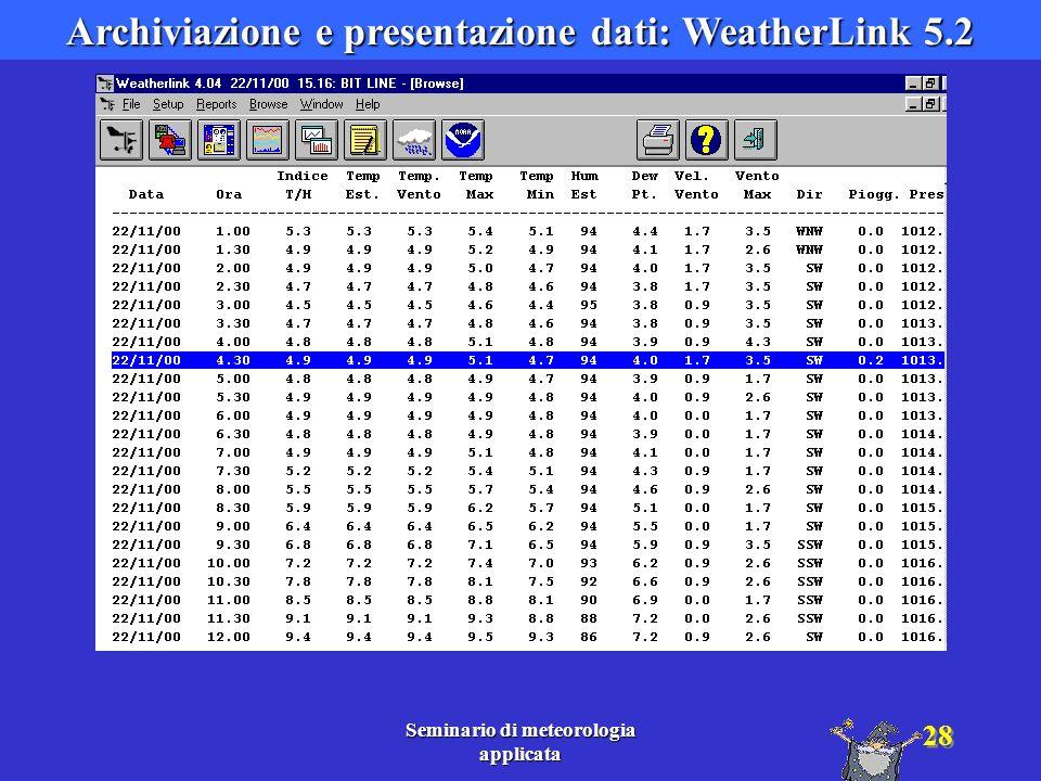 Archiviazione e presentazione dati: WeatherLink 5.2