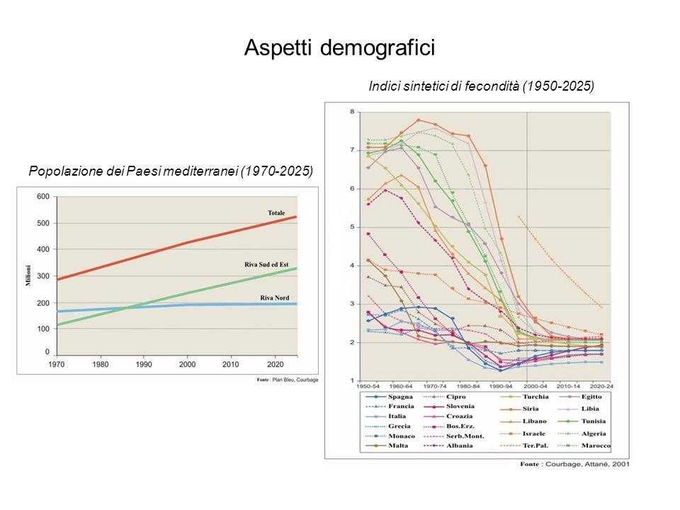 Aspetti demografici Indici sintetici di fecondità (1950-2025)