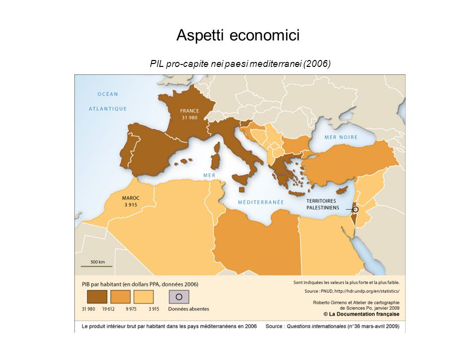 Aspetti economici PIL pro-capite nei paesi mediterranei (2006)