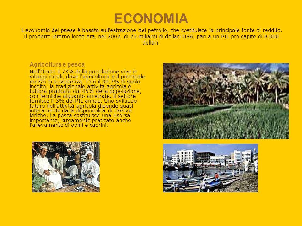 ECONOMIA L economia del paese è basata sull estrazione del petrolio, che costituisce la principale fonte di reddito. Il prodotto interno lordo era, nel 2002, di 23 miliardi di dollari USA, pari a un PIL pro capite di 8.000 dollari.