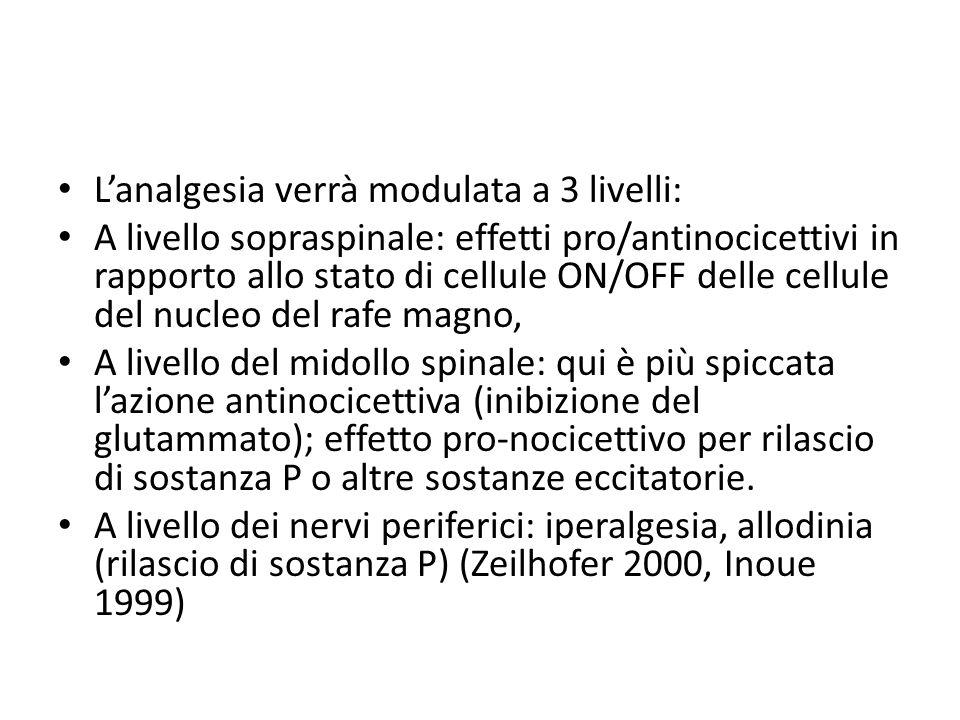 L'analgesia verrà modulata a 3 livelli: