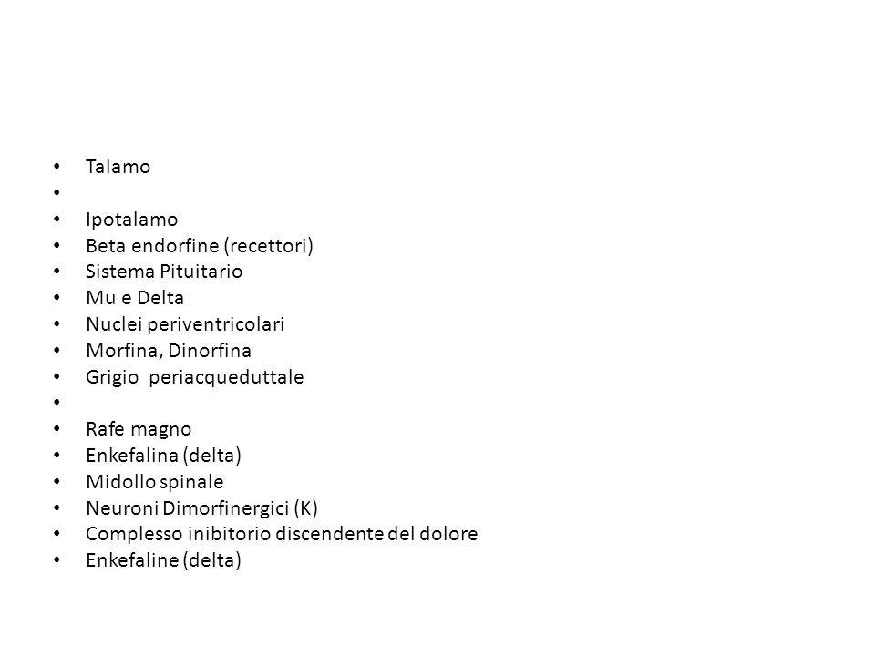 Talamo Ipotalamo. Beta endorfine (recettori) Sistema Pituitario. Mu e Delta. Nuclei periventricolari.