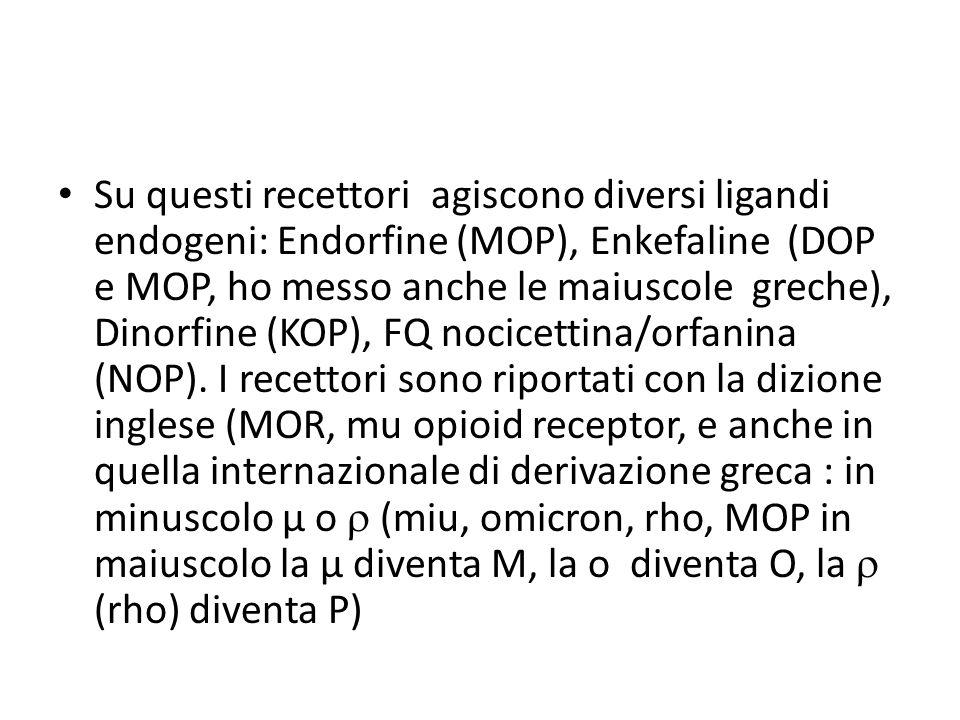 Su questi recettori agiscono diversi ligandi endogeni: Endorfine (MOP), Enkefaline (DOP e MOP, ho messo anche le maiuscole greche), Dinorfine (KOP), FQ nocicettina/orfanina (NOP).