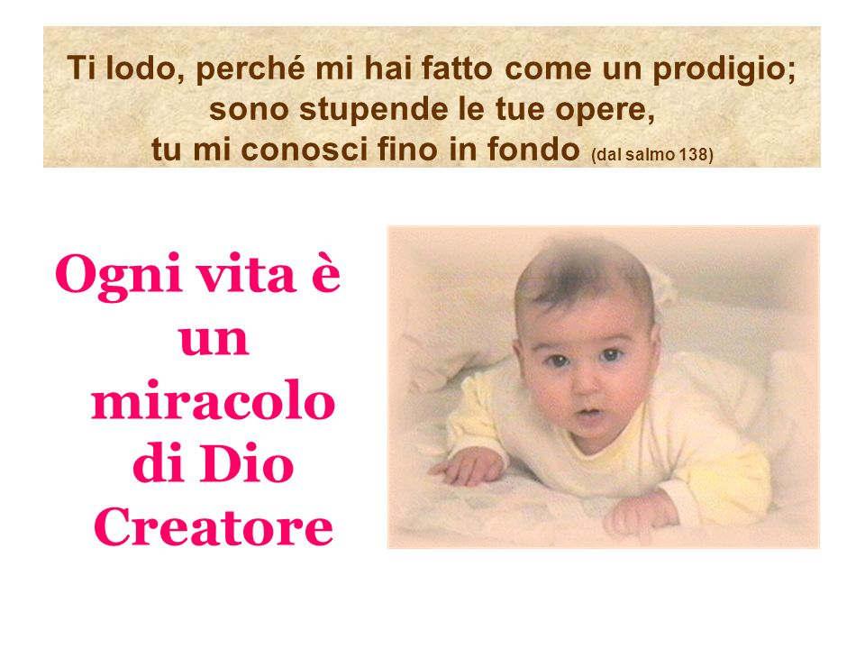 Ogni vita è un miracolo di Dio Creatore