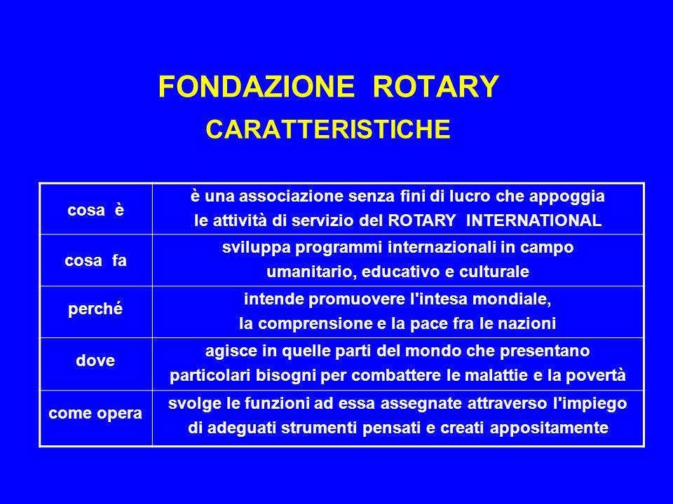 FONDAZIONE ROTARY CARATTERISTICHE
