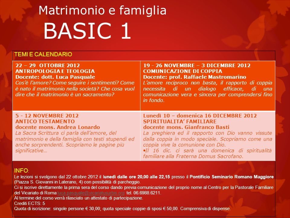 Matrimonio e famiglia BASIC 1