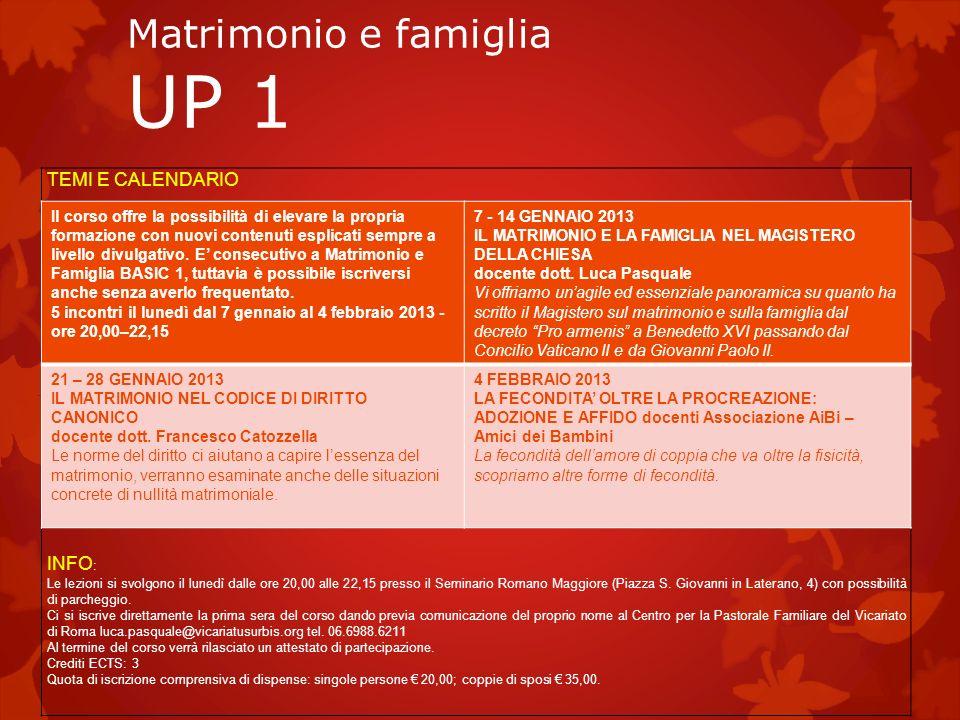 Matrimonio e famiglia UP 1