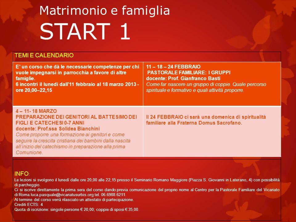 Matrimonio e famiglia START 1