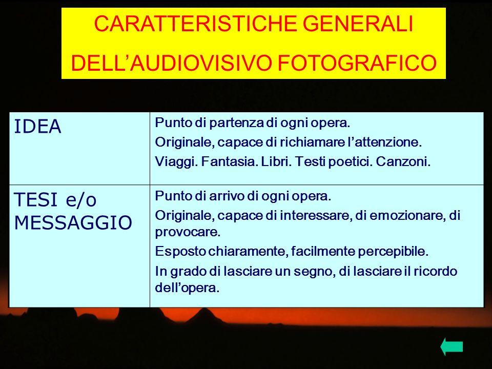 CARATTERISTICHE GENERALI DELL'AUDIOVISIVO FOTOGRAFICO
