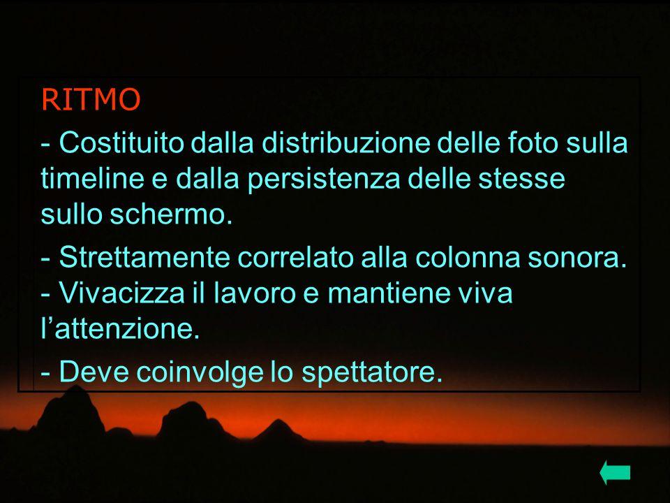 RITMO - Costituito dalla distribuzione delle foto sulla timeline e dalla persistenza delle stesse sullo schermo.