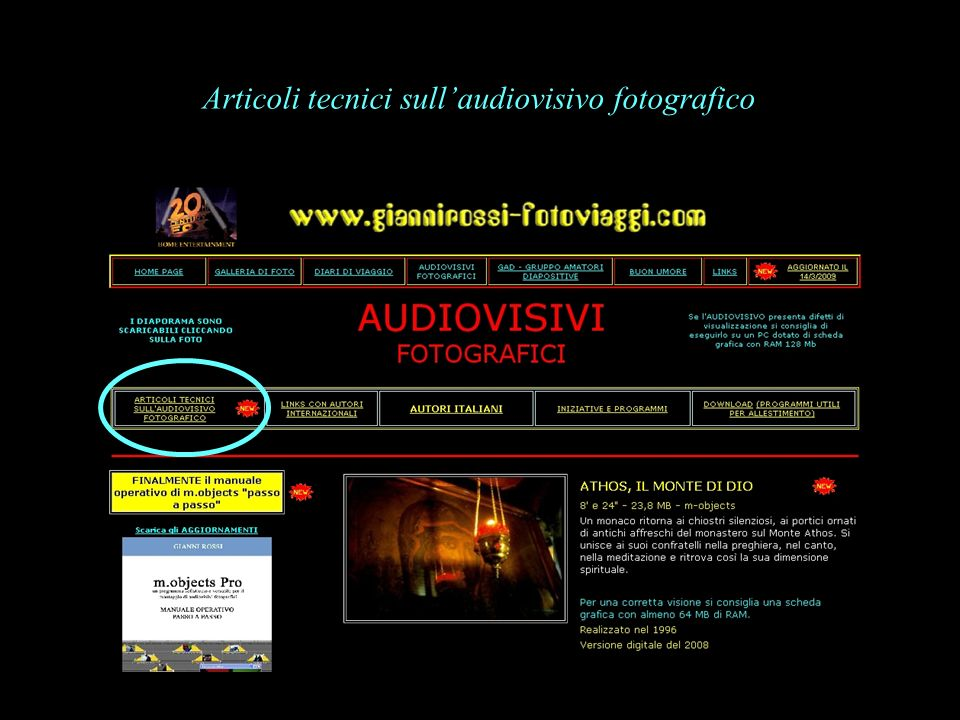Articoli tecnici sull'audiovisivo fotografico