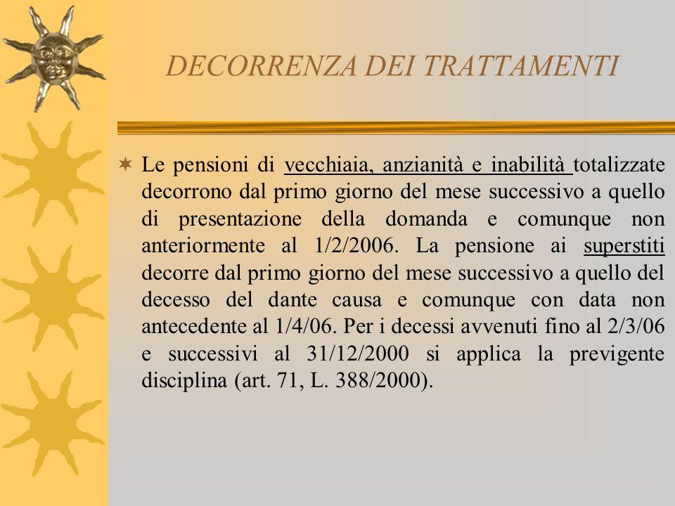 DECORRENZA DEI TRATTAMENTI