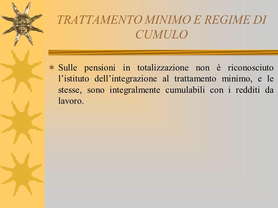 TRATTAMENTO MINIMO E REGIME DI CUMULO