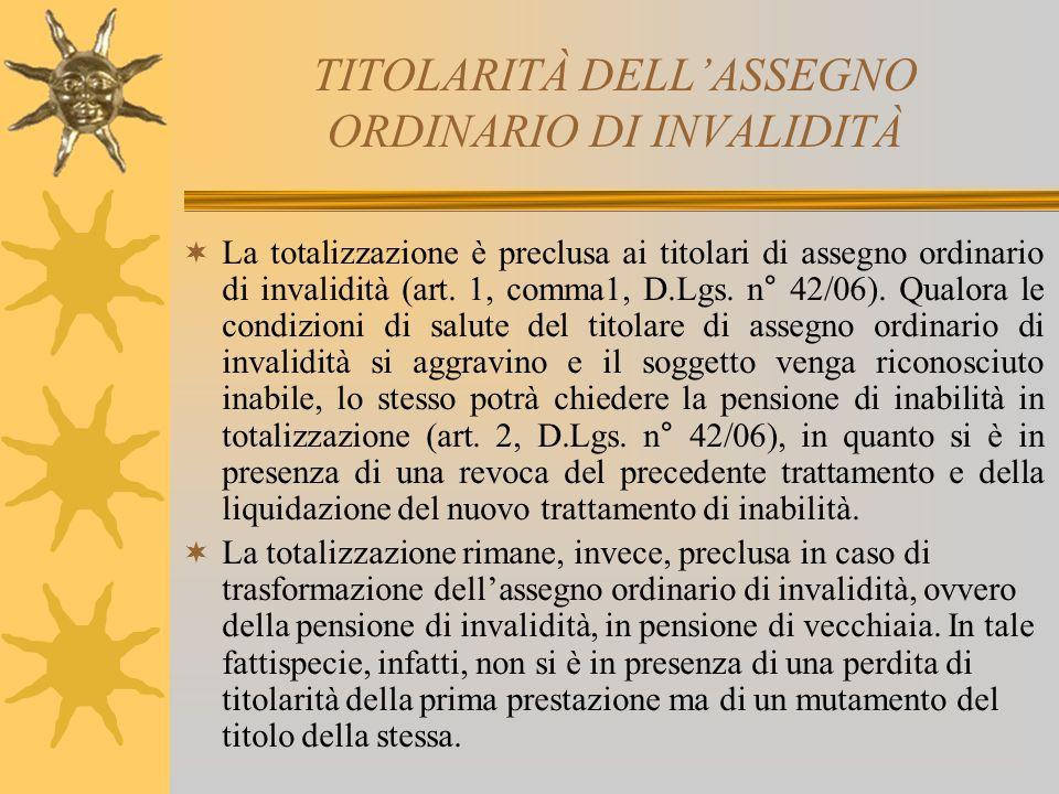 TITOLARITÀ DELL'ASSEGNO ORDINARIO DI INVALIDITÀ