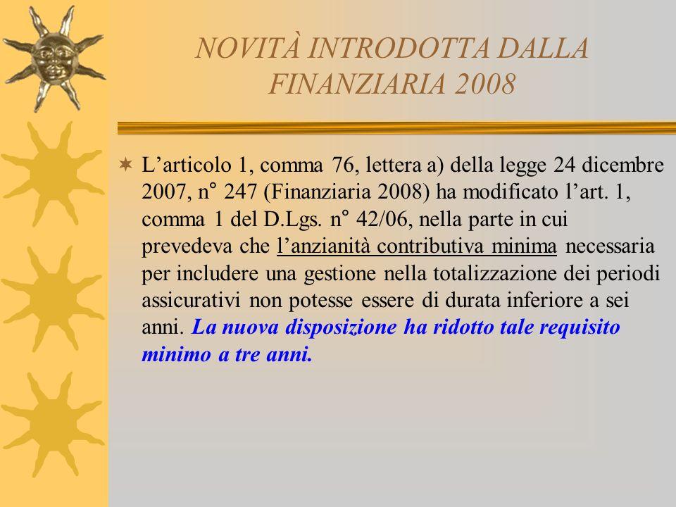 NOVITÀ INTRODOTTA DALLA FINANZIARIA 2008