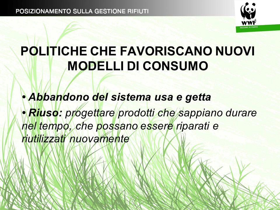 POLITICHE CHE FAVORISCANO NUOVI MODELLI DI CONSUMO