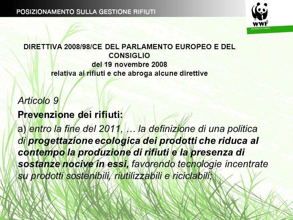 Prevenzione dei rifiuti: