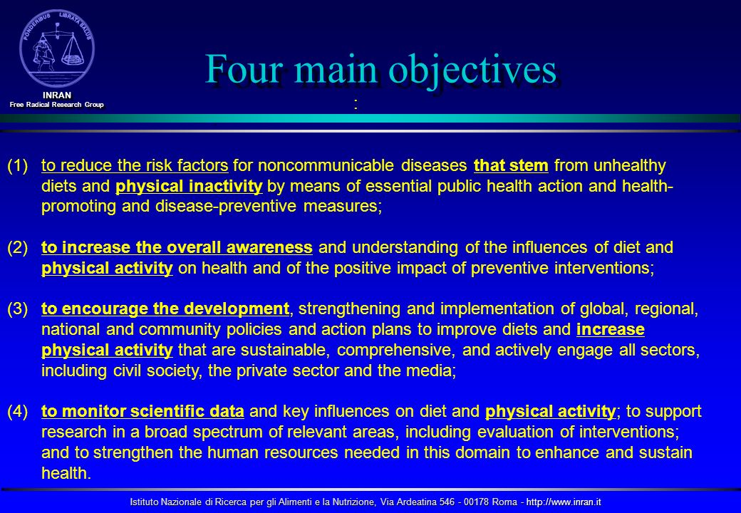 Four main objectives :