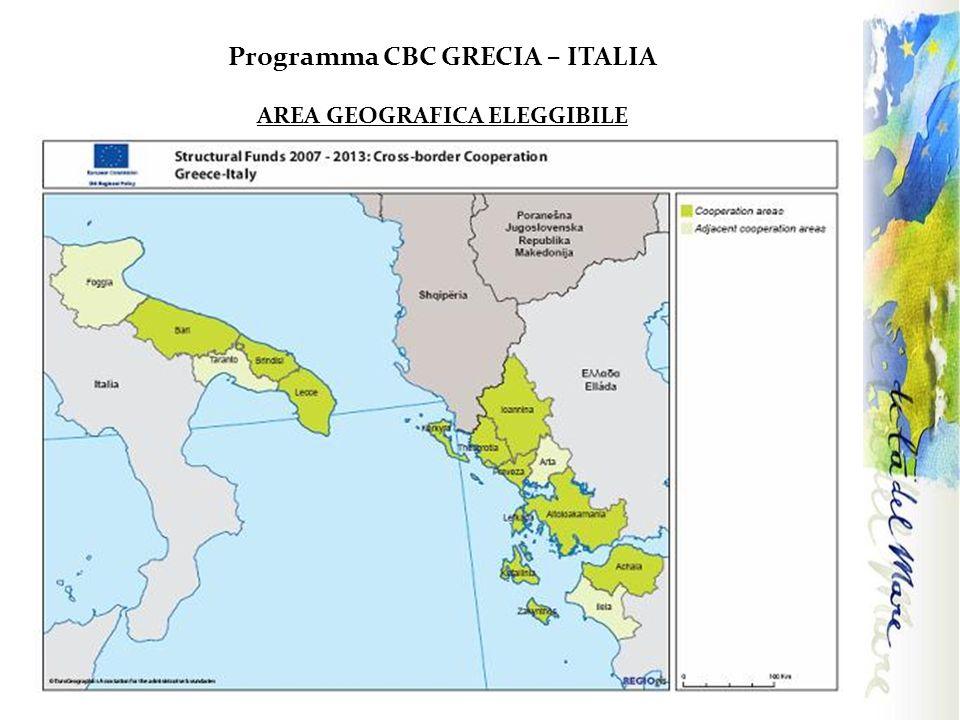 Programma CBC GRECIA – ITALIA AREA GEOGRAFICA ELEGGIBILE