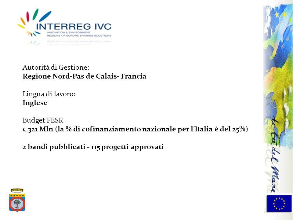 Autorità di Gestione: Regione Nord-Pas de Calais- Francia. Lingua di lavoro: Inglese. Budget FESR.