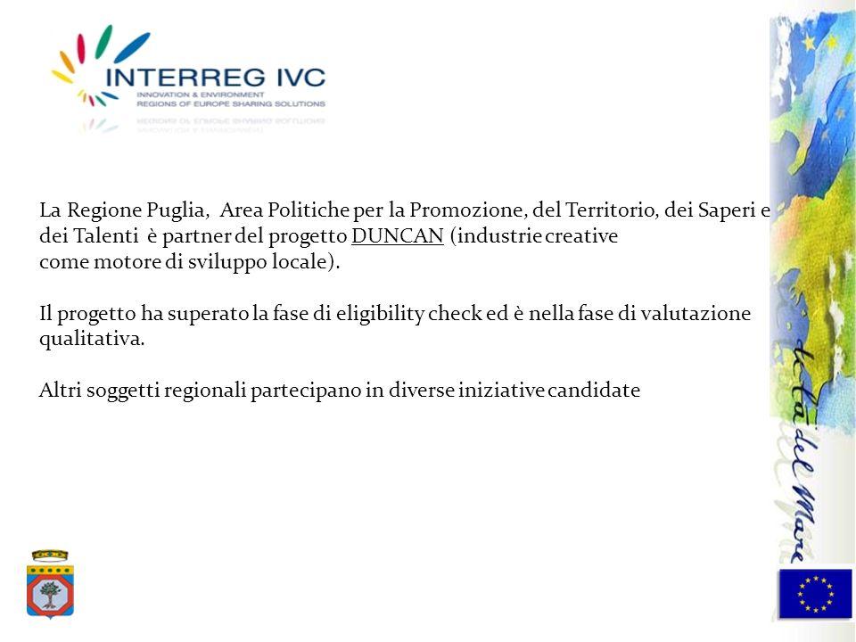 La Regione Puglia, Area Politiche per la Promozione, del Territorio, dei Saperi e dei Talenti è partner del progetto DUNCAN (industrie creative