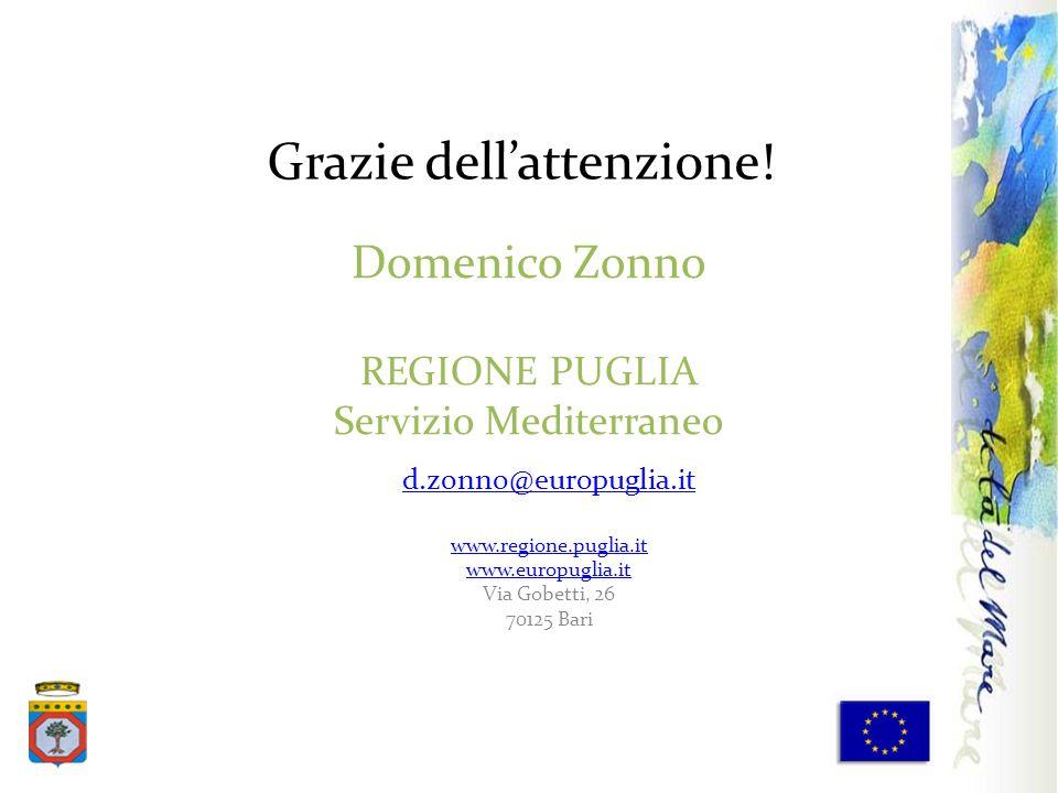Domenico Zonno REGIONE PUGLIA Servizio Mediterraneo