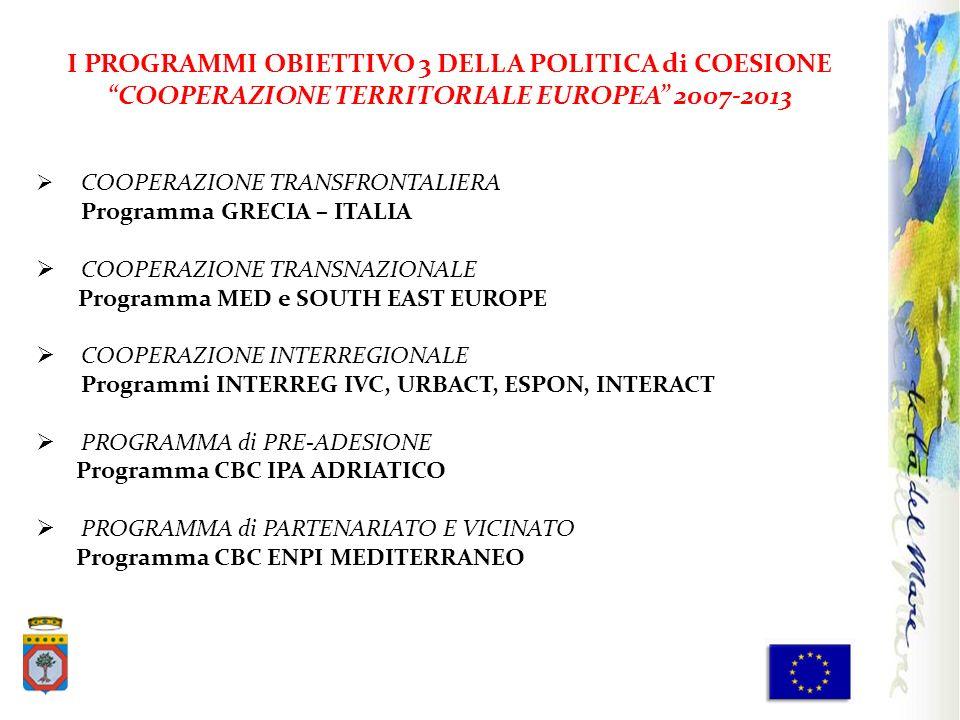 I PROGRAMMI OBIETTIVO 3 DELLA POLITICA di COESIONE COOPERAZIONE TERRITORIALE EUROPEA 2007-2013