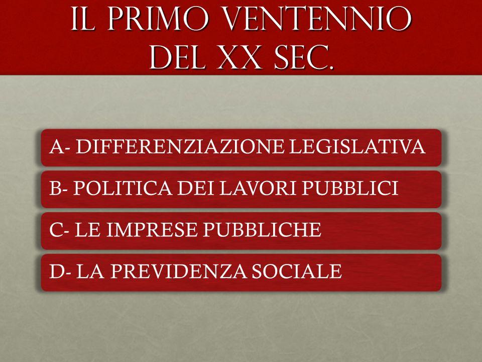 IL PRIMO VENTENNIO DEL XX SEC.