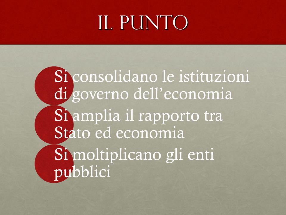 Il punto Si consolidano le istituzioni di governo dell'economia