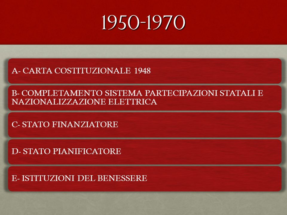 1950-1970 A- CARTA COSTITUZIONALE 1948