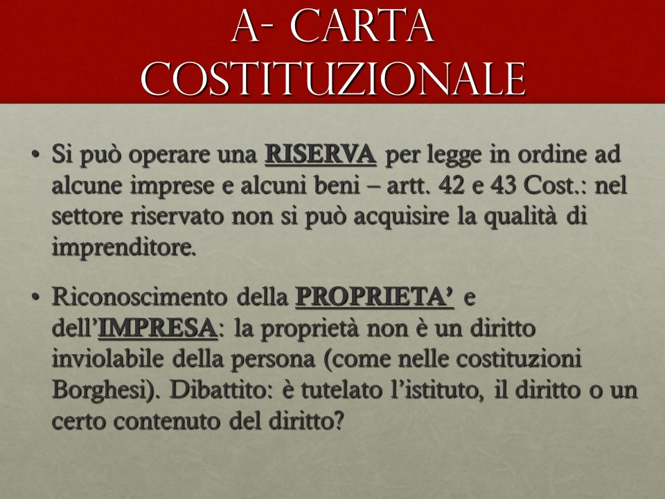 A- CARTA COSTITUZIONALE