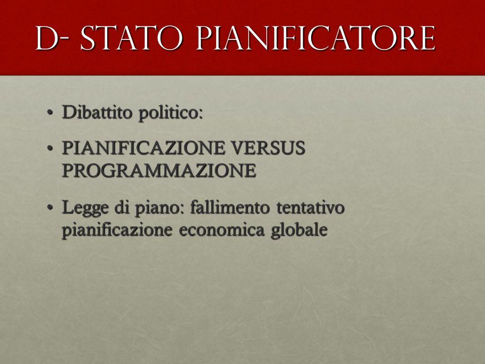 D- STATO PIANIFICATORE