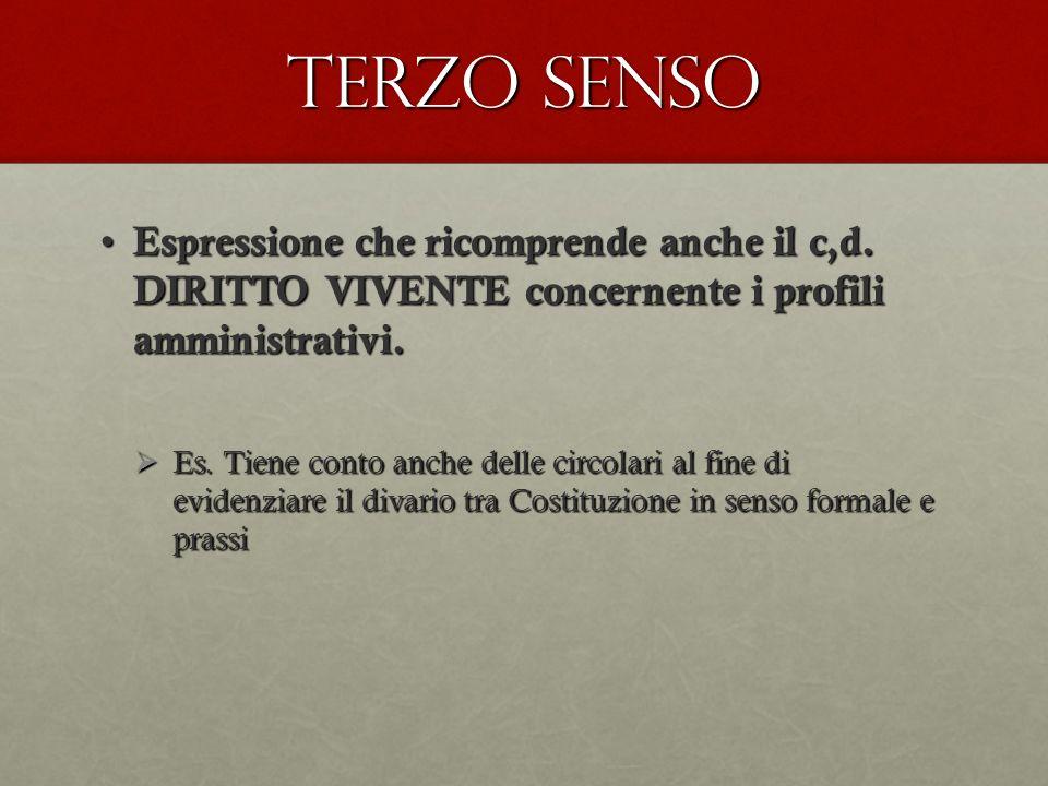 Terzo senso Espressione che ricomprende anche il c,d. DIRITTO VIVENTE concernente i profili amministrativi.