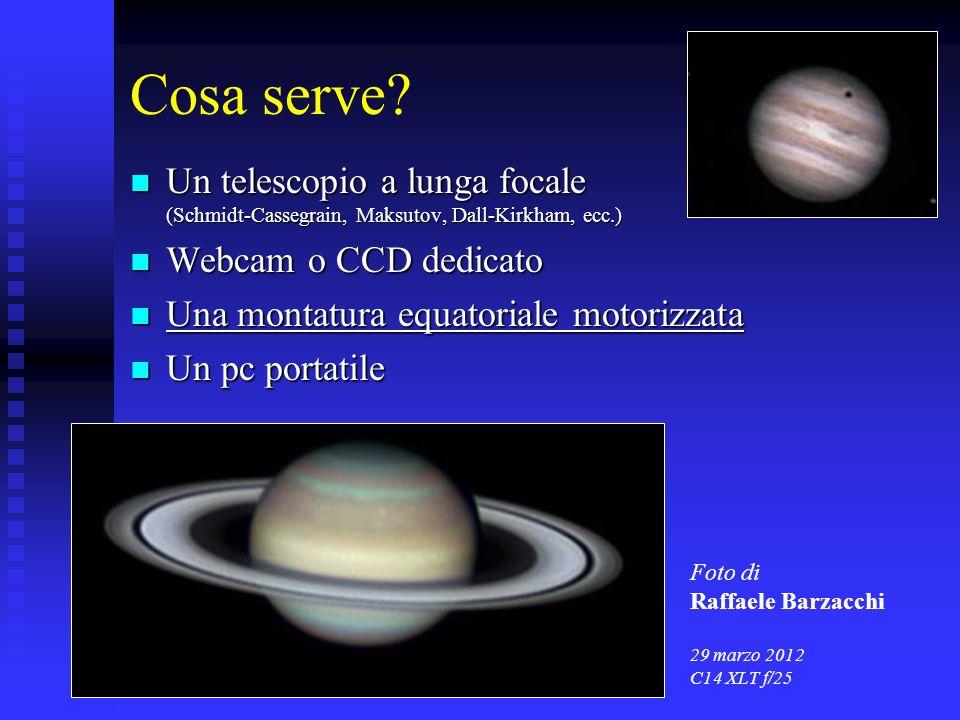 Cosa serve Un telescopio a lunga focale (Schmidt-Cassegrain, Maksutov, Dall-Kirkham, ecc.) Webcam o CCD dedicato.