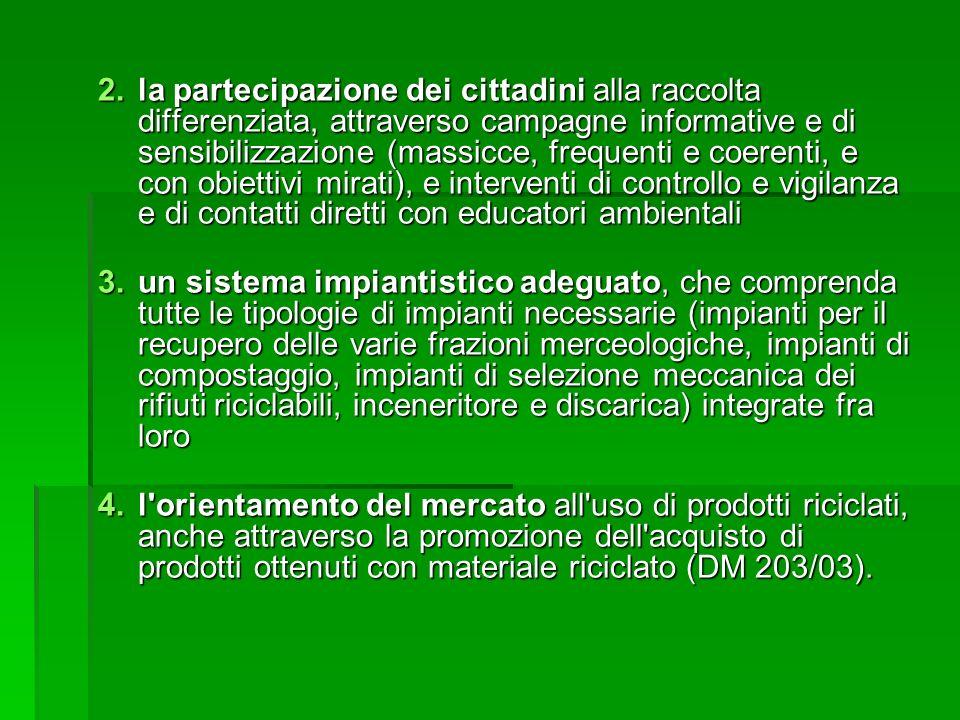 la partecipazione dei cittadini alla raccolta differenziata, attraverso campagne informative e di sensibilizzazione (massicce, frequenti e coerenti, e con obiettivi mirati), e interventi di controllo e vigilanza e di contatti diretti con educatori ambientali