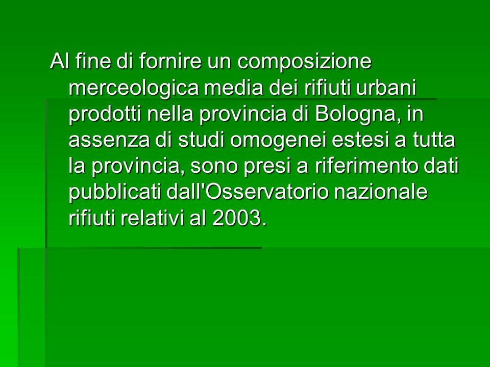Al fine di fornire un composizione merceologica media dei rifiuti urbani prodotti nella provincia di Bologna, in assenza di studi omogenei estesi a tutta la provincia, sono presi a riferimento dati pubblicati dall Osservatorio nazionale rifiuti relativi al 2003.