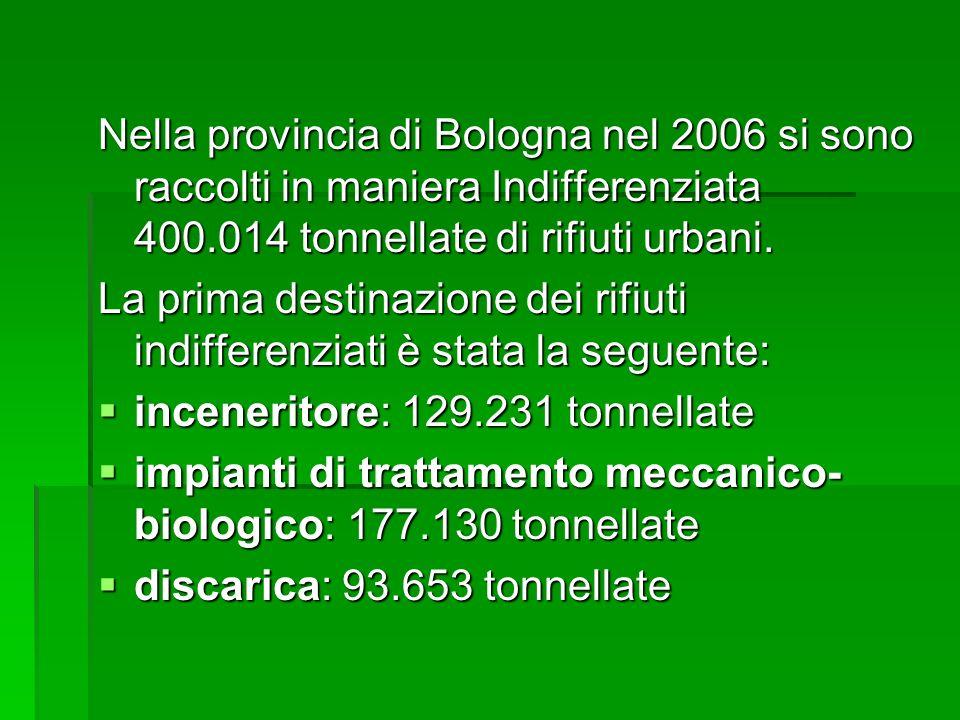 Nella provincia di Bologna nel 2006 si sono raccolti in maniera Indifferenziata 400.014 tonnellate di rifiuti urbani.