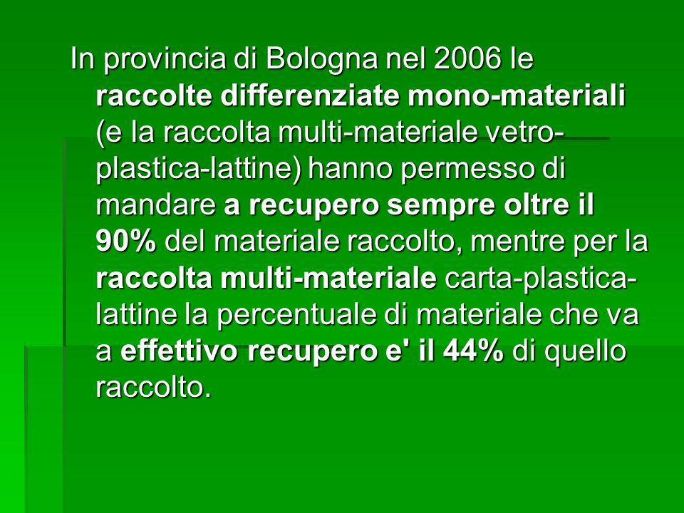 In provincia di Bologna nel 2006 le raccolte differenziate mono-materiali (e la raccolta multi-materiale vetro-plastica-lattine) hanno permesso di mandare a recupero sempre oltre il 90% del materiale raccolto, mentre per la raccolta multi-materiale carta-plastica-lattine la percentuale di materiale che va a effettivo recupero e il 44% di quello raccolto.