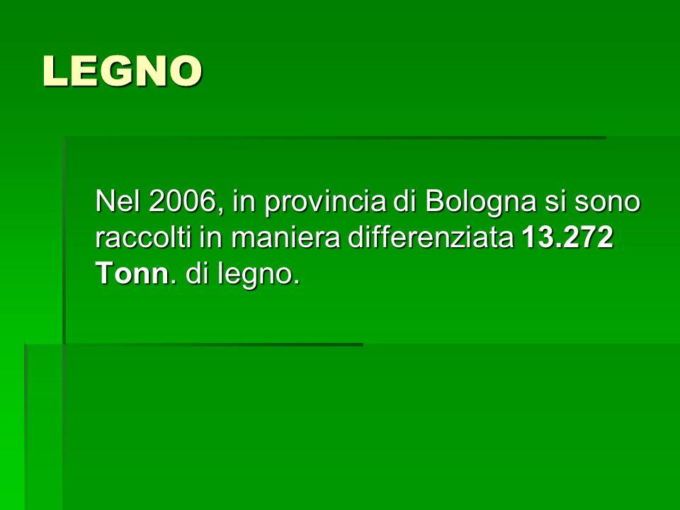 LEGNO Nel 2006, in provincia di Bologna si sono raccolti in maniera differenziata 13.272 Tonn.