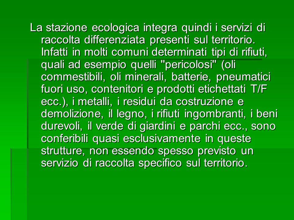 La stazione ecologica integra quindi i servizi di raccolta differenziata presenti sul territorio.