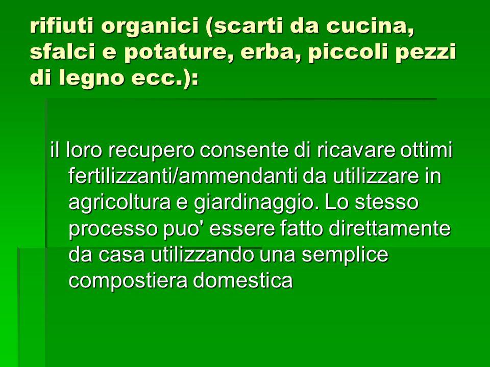 rifiuti organici (scarti da cucina, sfalci e potature, erba, piccoli pezzi di legno ecc.):