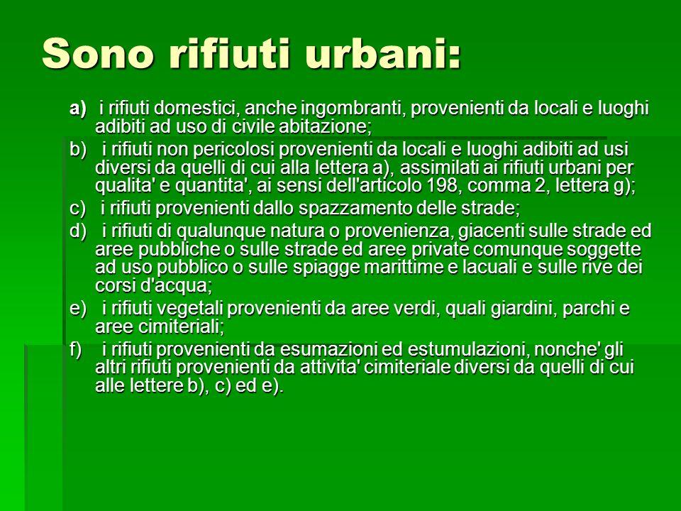 Sono rifiuti urbani: a) i rifiuti domestici, anche ingombranti, provenienti da locali e luoghi adibiti ad uso di civile abitazione;