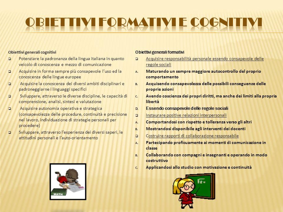 Obiettivi FORMATIVI E cognitivi