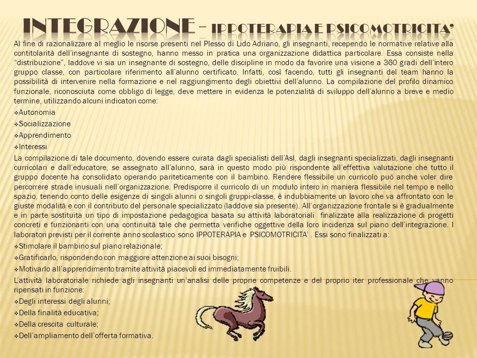 INTEGRAZIONE - IPPOTERAPIA E PSICOMOTRICITA'