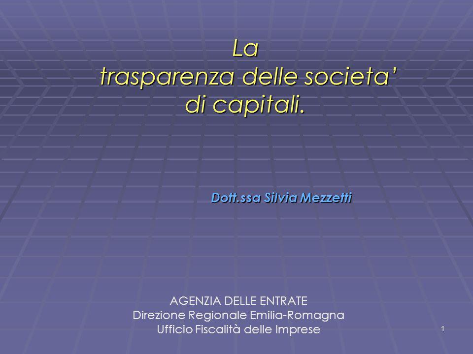 La trasparenza delle societa' di capitali.