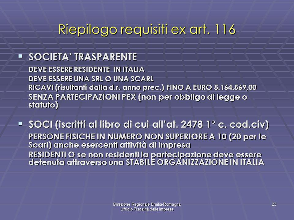 Riepilogo requisiti ex art. 116