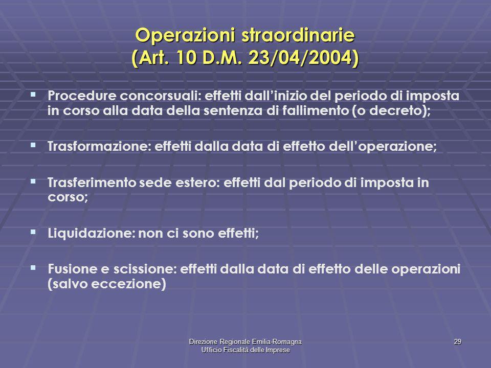 Operazioni straordinarie (Art. 10 D.M. 23/04/2004)